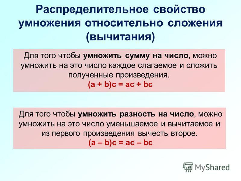 Распределительное свойство умножения относительно сложения (вычитания) Для того чтобы умножить сумму на число, можно умножить на это число каждое слагаемое и сложить полученные произведения. (a + b)c = ac + bc Для того чтобы умножить разность на числ