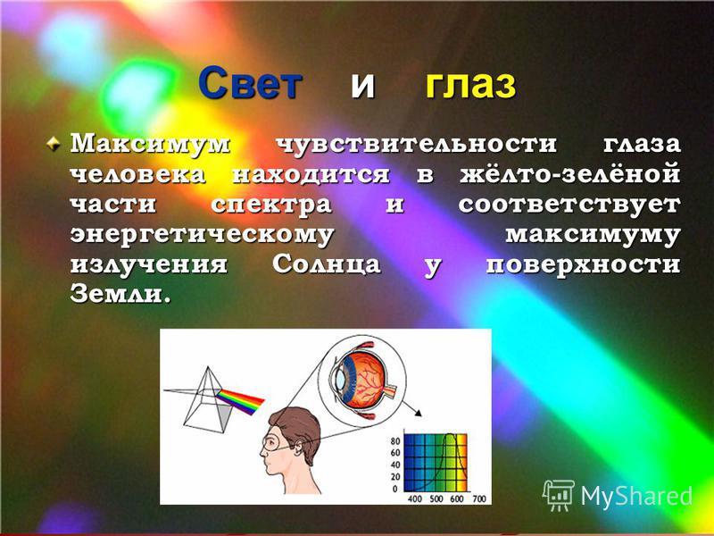 Свет и глаз Максимум чувствительности глаза человека находится в жёлто-зелёной части спектра и соответствует энергетическому максимуму излучения Солнца у поверхности Земли.