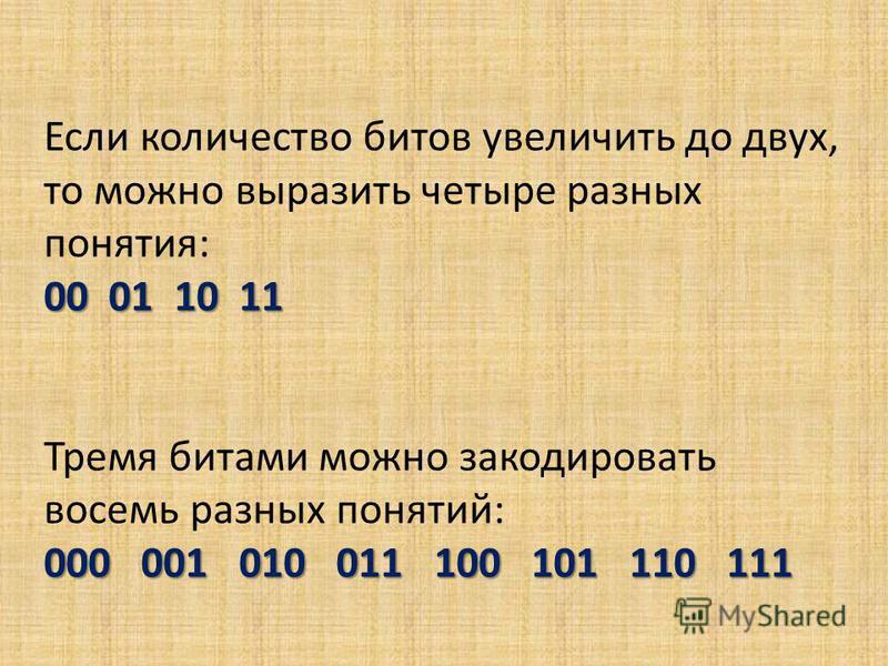 Если количество битов увеличить до двух, то можно выразить четыре разных понятия: 00 01 10 11 Тремя битами можно закодировать восемь разных понятий: 000 001 010 011 100 101 110 111