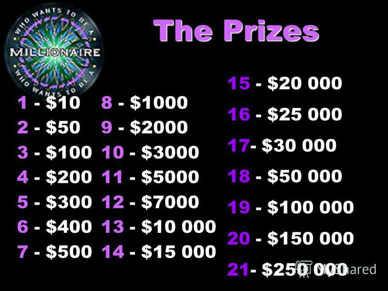 The Prizes 1 - $10 2 - $50 3 - $100 4 - $200 5 - $300 6 - $400 7 - $500 8 - $1000 9 - $2000 10 - $3000 11 - $5000 12 - $7000 13 - $10 000 14 - $15 000 15 - $20 000 16 - $25 000 17- $30 000 18 - $50 000 19 - $100 000 20 - $150 000 21- $250 000
