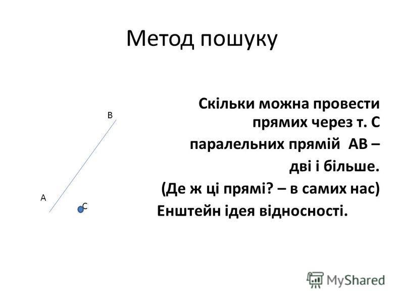 Метод пошуку Скільки можна провести прямих через т. С паралельних прямій АВ – дві і більше. (Де ж ці прямі? – в самих нас) Енштейн ідея відносності. В А С