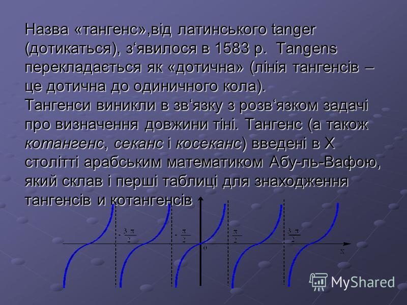 Назва «тангенс»,від латинського tanger (дотикаться), зявилося в 1583 р. Tangens перекладається як «дотична» (лінія тангенсів – це дотична до одиничного кола). Тангенси виникли в звязку з розвязком задачі про визначення довжини тіні. Тангенс (а також
