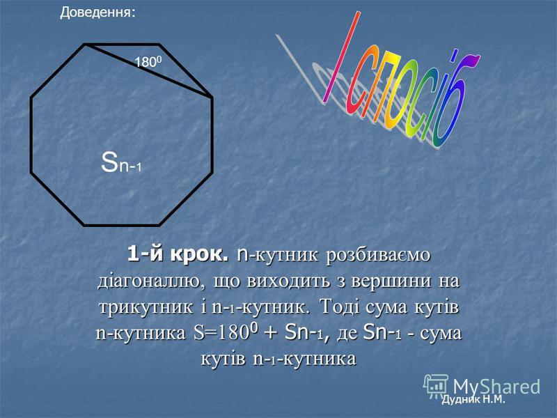 1-й крок. n -кутник розбиваємо діагоналлю, що виходить з вершини на трикутник і n- 1 -кутник. Тоді сума кутів n-кутника S=180 0 + Sn- 1, де Sn- 1 - сума кутів n- 1 -кутника 180 0 S n- 1 Доведення: Дудник Н.М.