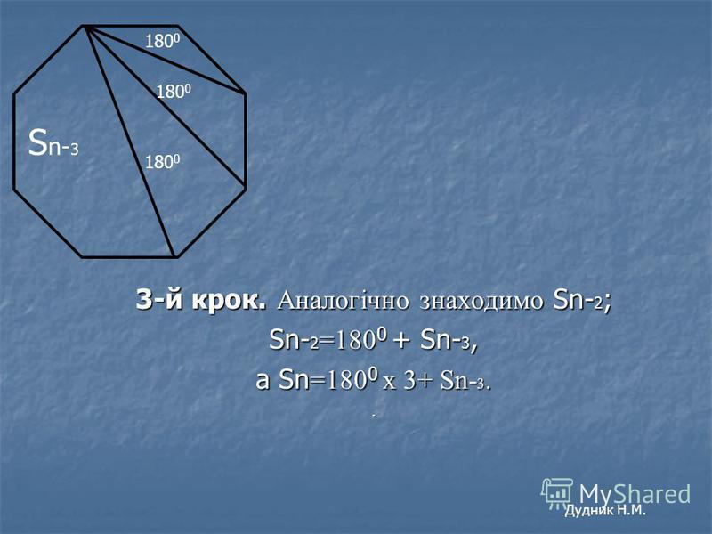 3-й крок. Аналогічно знаходимо Sn- 2 ; Sn- 2 =180 0 + Sn- 3, а Sn =180 0 х 3+ Sn- 3.. 180 0 S n- 3 Дудник Н.М.