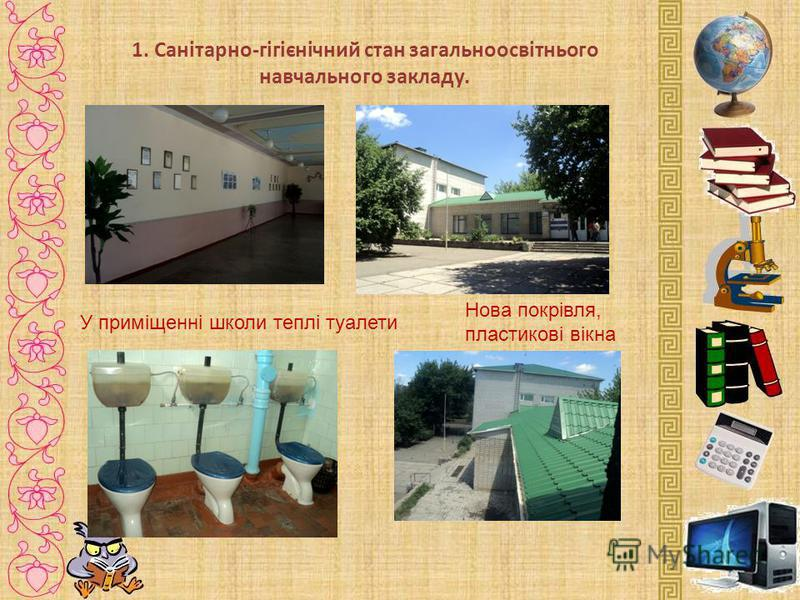 1. Санітарно-гігієнічний стан загальноосвітнього навчального закладу. У приміщенні школи теплі туалети Нова покрівля, пластикові вікна