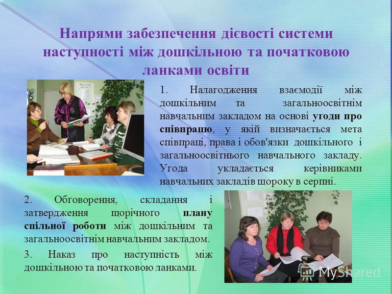 Напрями забезпечення дієвості системи наступності між дошкільною та початковою ланками освіти 1. Налагодження взаємодії між дошкільним та загальноосвітнім навчальним закладом на основі угоди про співпрацю, у якій визначається мета співпраці, права і