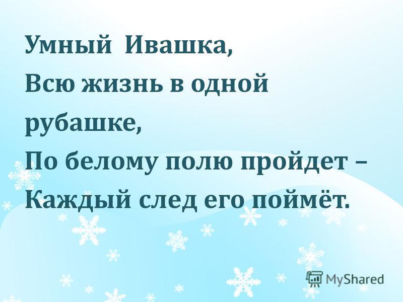 Умный Ивашка, Всю жизнь в одной рубашке, По белому полю пройдет – Каждый след его поймёт.