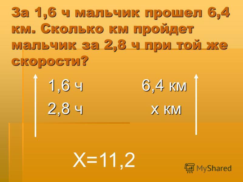 За 1,6 ч мальчик прошел 6,4 км. Сколько км пройдет мальчик за 2,8 ч при той же скорости? 1,6 ч 6,4 км 2,8 ч х км Х=11,2