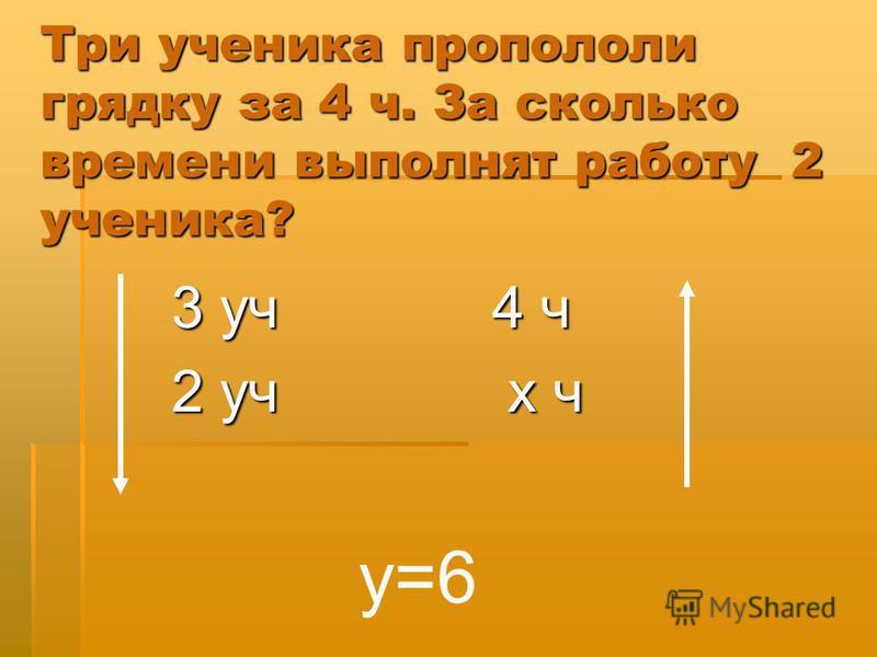Три ученика пропололи грядку за 4 ч. За сколько времени выполнят работу 2 ученика? 3 уч 4 ч 2 уч х ч у=6