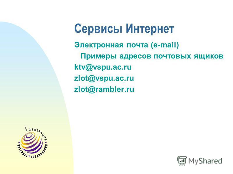 Сервисы Интернет Электронная почта (e-mail) Примеры адресов почтовых ящиков ktv@vspu.ac.ru zlot@vspu.ac.ru zlot@rambler.ru