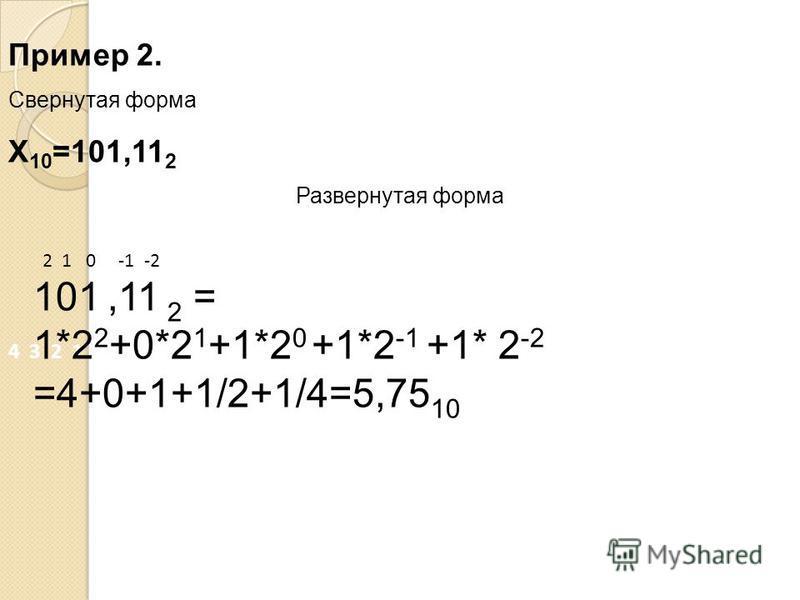 Пример 2. Свернутая форма Х 10 =101,11 2 Развернутая форма 4 3 2 1 0 -1 -2 2 1 0 -1 -2 101,11 2 = 1*2 2 +0*2 1 +1*2 0 +1*2 -1 +1* 2 -2 =4+0+1+1/2+1/4=5,75 10