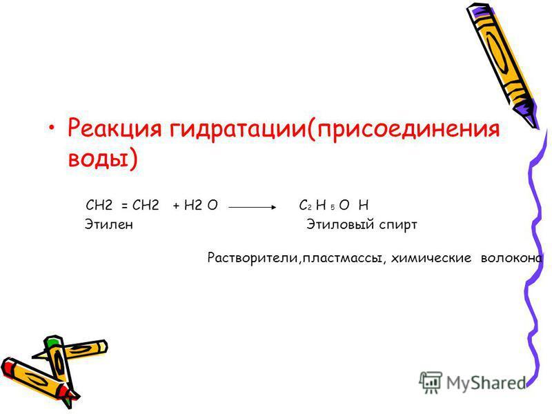 Реакция гидратации(присоединрения воды) CH2 = CH2+ H2 OC 2 H 5 O H Этилрен Этиловый спирт Растворители,пластмассы, химические волокна