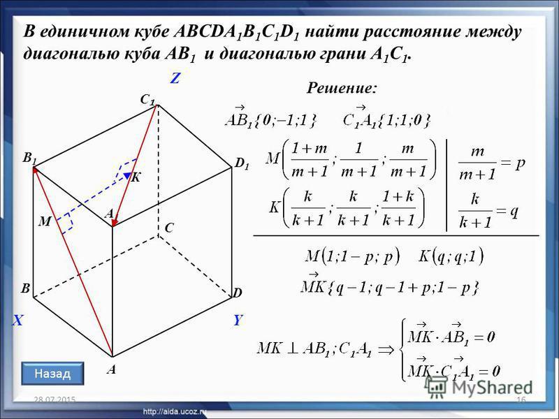 28.07.201516 В единичном кубе ABCDA 1 B 1 C 1 D 1 найти расстояние между диагональю куба АВ 1 и диагональю грани A 1 С 1. Решение: А С D D1D1 В1В1 С А1А1 В X Z Y М К Назад
