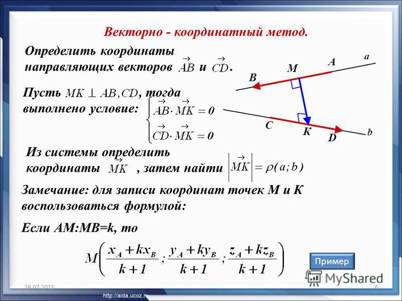 Из системы определить координаты, затем найти Пусть, тогда выполнено условие: 28.07.20156 Определить координаты направляющих векторов и. Векторно - координатный метод. Пример B C А D Замечание: для записи координат точек М и К воспользоваться формуло