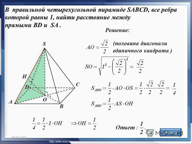 28.07.20158 В правильной четырехугольной пирамиде SABCD, все ребра которой равны 1, найти расстояние между прямыми BD и SA. Решение: (половина диагонали единичного квадрата ) O А В С D S H Назад