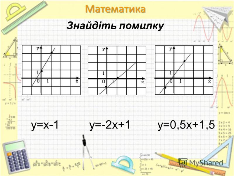 у=х-1 у=-2х+1 у=0,5х+1,5 Знайдіть помилку