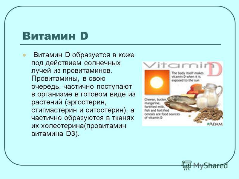 Витамин D Витамин D образуется в коже под действием солнечных лучей из провитаминов. Провитамины, в свою очередь, частично поступают в организме в готовом виде из растений (эргостерин, стигмастерин и ситостерин), а частично образуются в тканях их хол