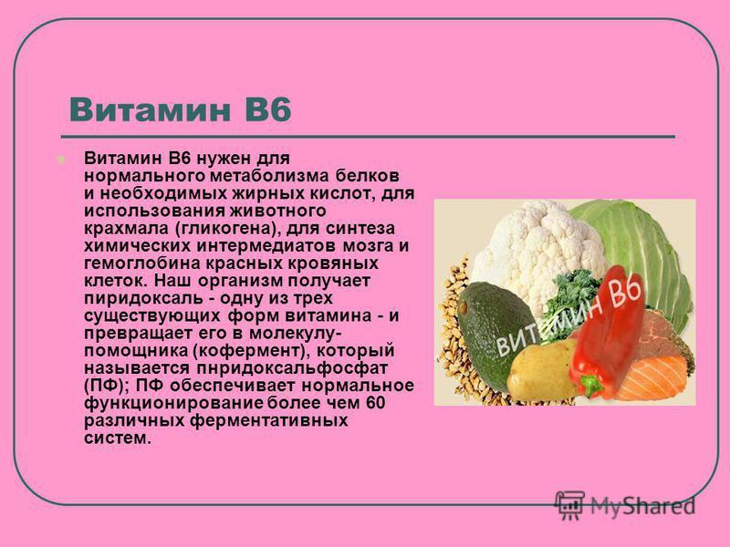 Витамин В6 Витамин В6 нужен для нормального метаболизма белков и необходимых жирных кислот, для использования животного крахмала (гликогена), для синтеза химических интермедиатов мозга и гемоглобина красных кровяных клеток. Наш организм получает пири