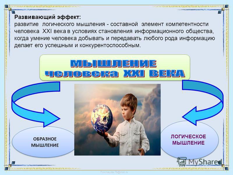FokinaLida.75@mail.ru ОБРАЗНОЕ МЫШЛЕНИЕ ОБРАЗНОЕ МЫШЛЕНИЕ ЛОГИЧЕСКОЕ МЫШЛЕНИЕ ЛОГИЧЕСКОЕ МЫШЛЕНИЕ Развивающий эффект: развитие логического мышления - составной элемент компетентности человека XXI века в условиях становления информационного общества,