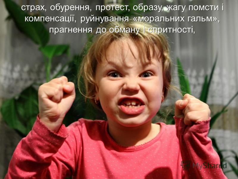 страх, обурення, протест, образу, жагу помсти і компенсації, руйнування «моральних гальм», прагнення до обману і спритності,