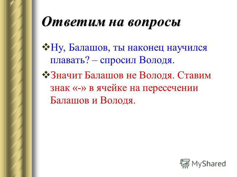 Ответим на вопросы Ну, Балашов, ты наконец научился плавать? – спросил Володя. Значит Балашов не Володя. Ставим знак «-» в ячейке на пересечении Балашов и Володя.