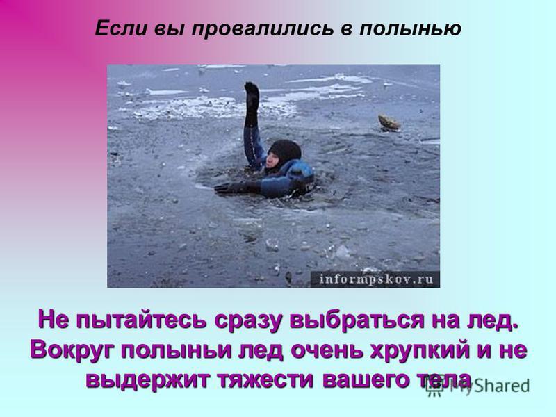Если вы провалились в полынью Не пытайтесь сразу выбраться на лед. Вокруг полыньи лед очень хрупкий и не выдержит тяжести вашего тела