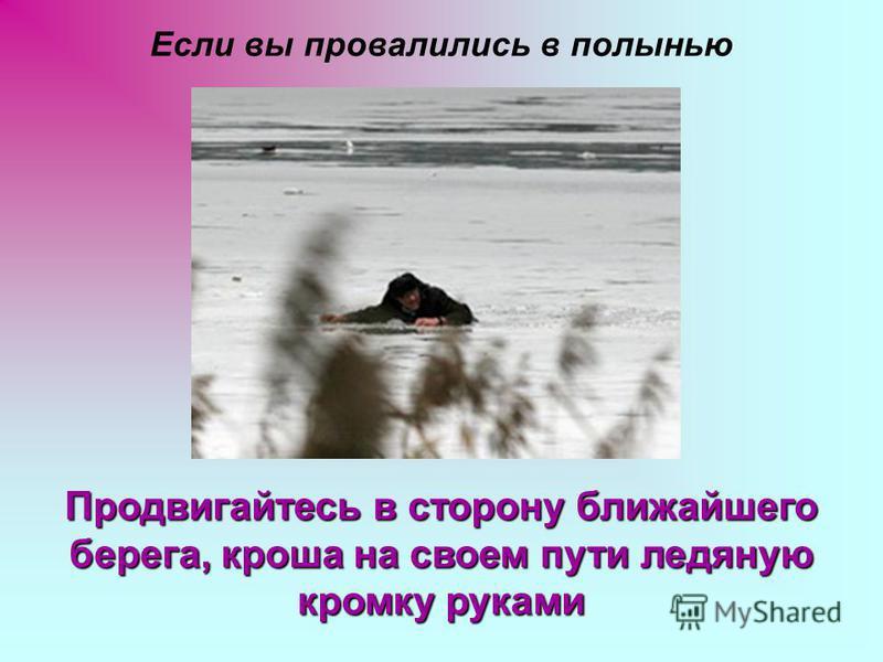 Если вы провалились в полынью Продвигайтесь в сторону ближайшего берега, кроша на своем пути ледяную кромку руками