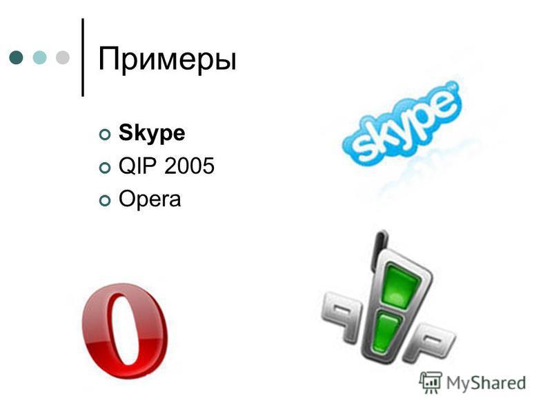 Примеры Skype QIP 2005 Opera