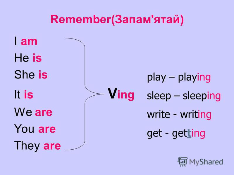 Remember(Запам'ятай) I am He is She is It is V ing We are You are They are play – playing sleep – sleeping write - writing get - getting