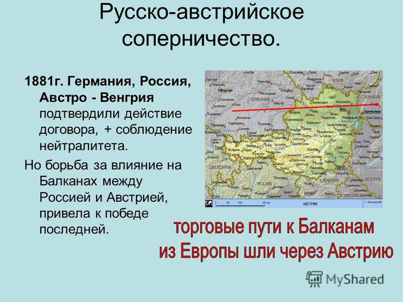Русско-австрийское соперничество. 1881 г. Германия, Россия, Австро - Венгрия подтвердили действие договора, + соблюдение нейтралитета. Но борьба за влияние на Балканах между Россией и Австрией, привела к победе последней.