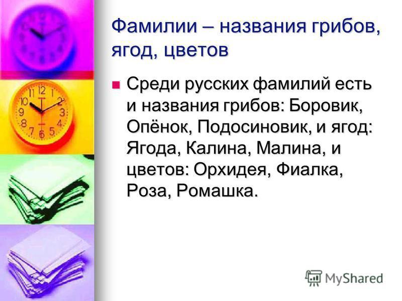 Фамилии – названия грибов, ягод, цветов Среди русских фамилий есть и названия грибов: Боровик, Опёнок, Подосиновик, и ягод: Ягода, Калина, Малина, и цветов: Орхидея, Фиалка, Роза, Ромашка. Среди русских фамилий есть и названия грибов: Боровик, Опёнок