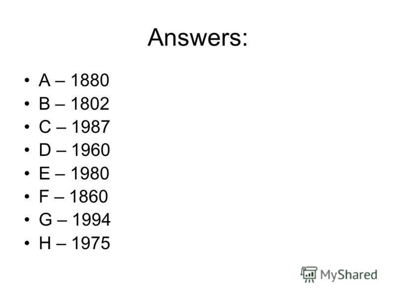 Answers: A – 1880 B – 1802 C – 1987 D – 1960 E – 1980 F – 1860 G – 1994 H – 1975