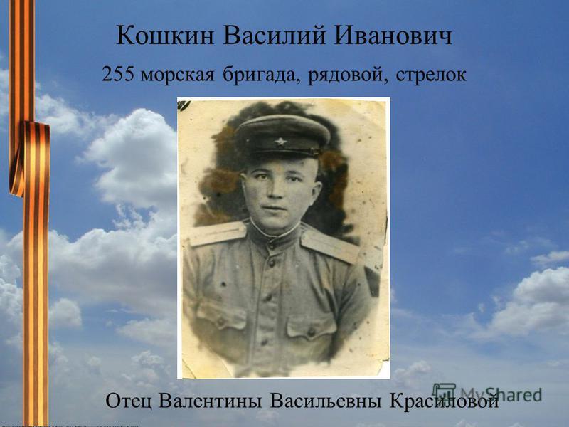Кошкин Василий Иванович 255 морская бригада, рядовой, стрелок Отец Валентины Васильевны Красиловой