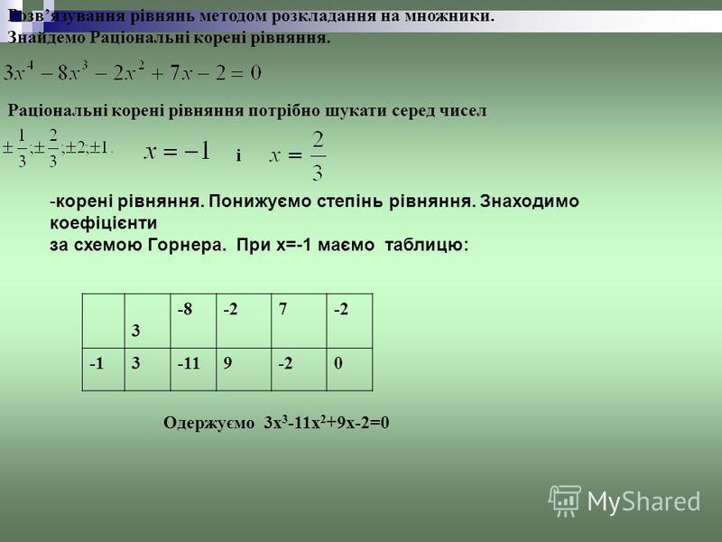 Розвязування рівнянь методом розкладання на множники. Знайдемо Раціональні корені рівняння. Раціональні корені рівняння потрібно шукати серед чисел і -корені рівняння. Понижуємо степінь рівняння. Знаходимо коефіцієнти за схемою Горнера. При x=-1 маєм