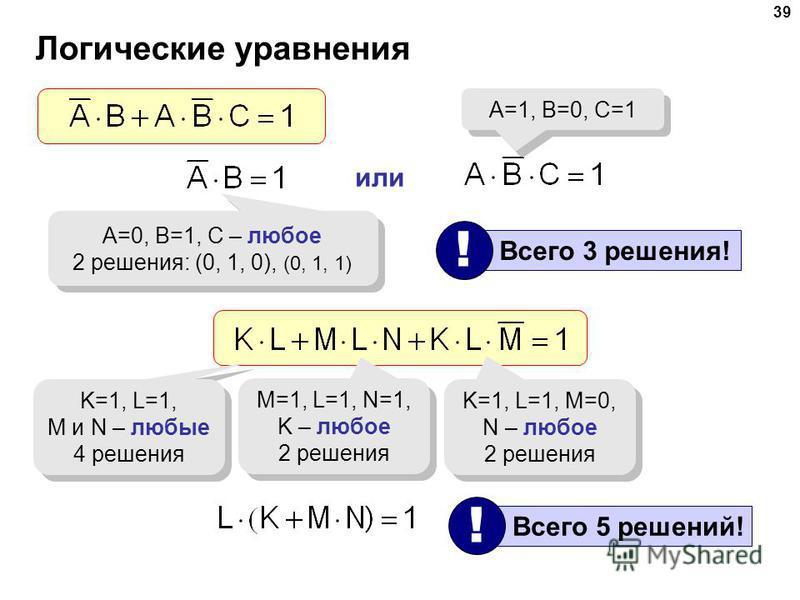 39 Логические уравнения A=0, B=1, C – любое 2 решения: (0, 1, 0), (0, 1, 1) A=0, B=1, C – любое 2 решения: (0, 1, 0), (0, 1, 1) или A=1, B=0, C=1 Всего 3 решения! ! K=1, L=1, M и N – любые 4 решения K=1, L=1, M и N – любые 4 решения M=1, L=1, N=1, K