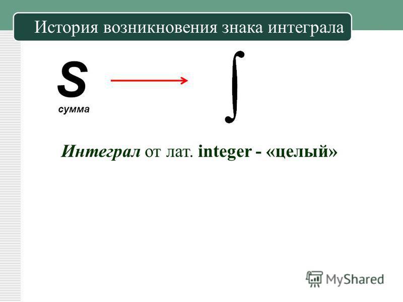 История возникновения знака интеграла S сумма Интеграл от лат. integer - «целый»