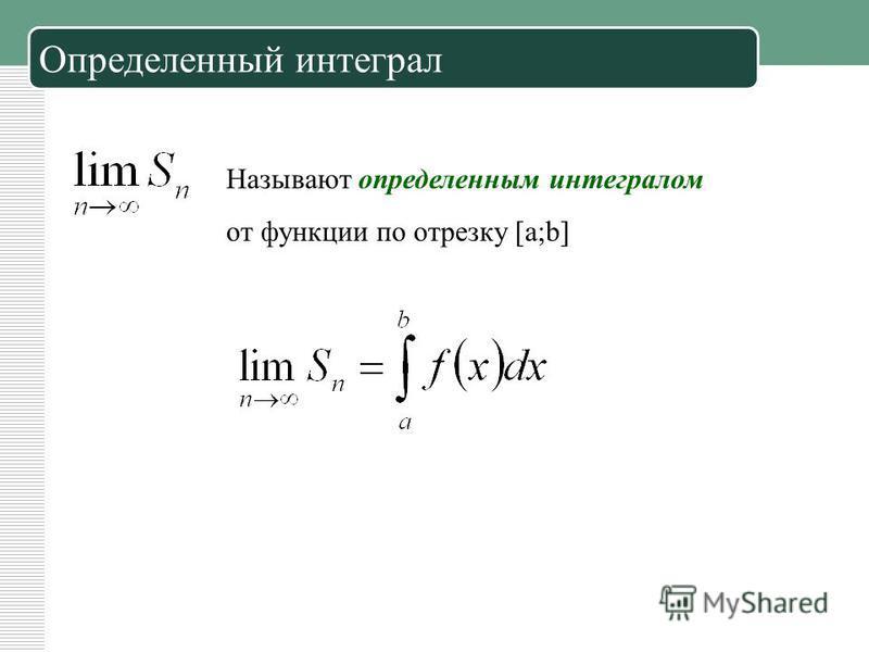 Определенный интеграл Называют определенным интегралом от функции по отрезку [a;b]