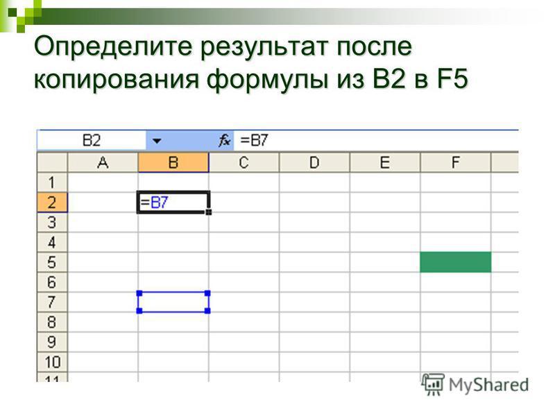 Определите результат после копирования формулы из B2 в F5