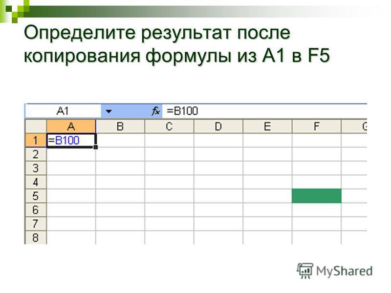 Определите результат после копирования формулы из A1 в F5