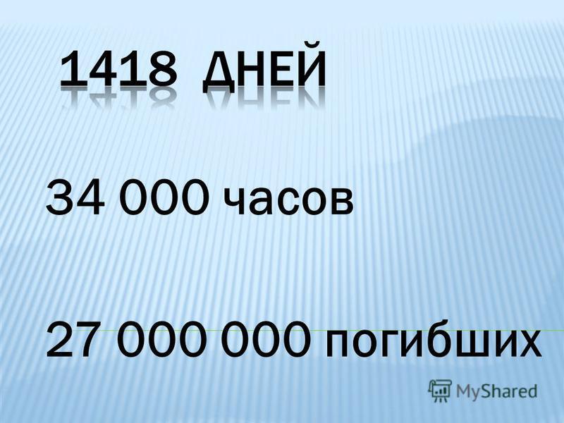 34 000 часов 27 000 000 погибших