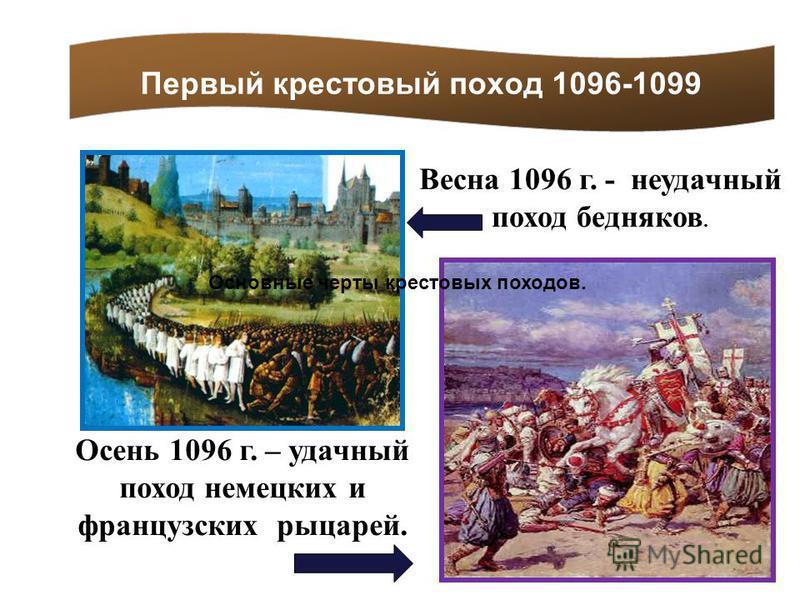 Первый крестовый поход 1096-1099 Весна 1096 г. - неудачный поход бедняков. Осень 1096 г. – удачный поход немецких и французских рыцарей. Основные черты крестовых походов.