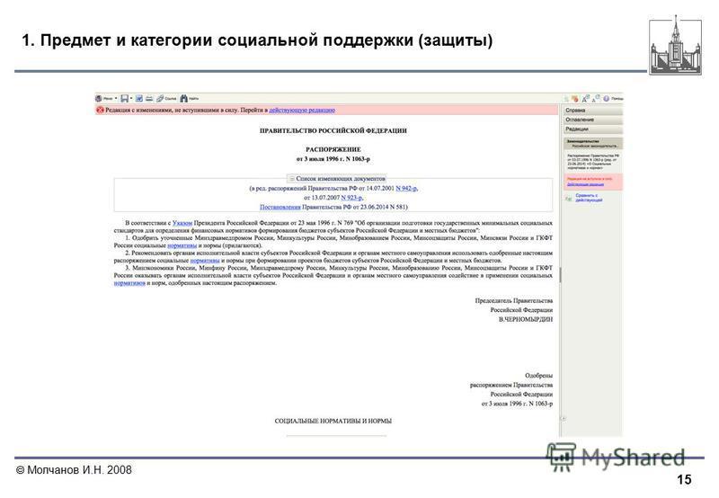 15 Молчанов И.Н. 2008 1. Предмет и категории социальной поддержки (защиты)