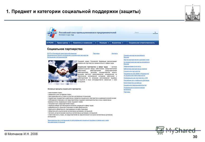 30 Молчанов И.Н. 2008 1. Предмет и категории социальной поддержки (защиты)