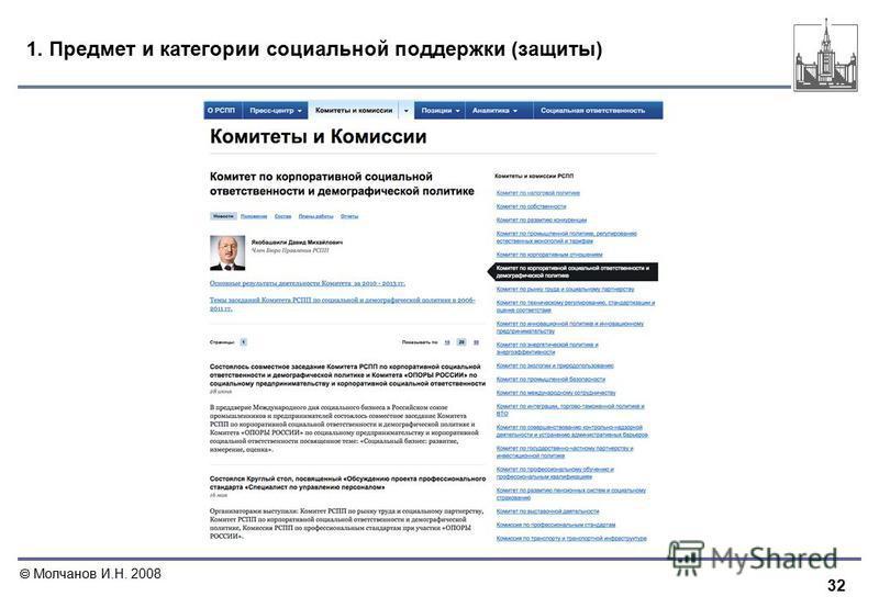 32 Молчанов И.Н. 2008 1. Предмет и категории социальной поддержки (защиты)