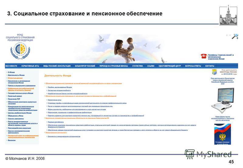 45 Молчанов И.Н. 2008 3. Социальное страхование и пенсионное обеспечение