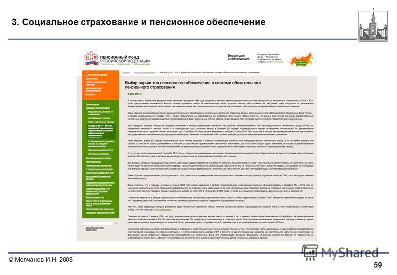 59 Молчанов И.Н. 2008 3. Социальное страхование и пенсионное обеспечение