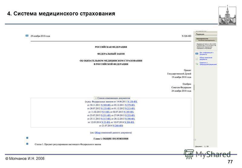 77 Молчанов И.Н. 2008 4. Система медицинского страхования