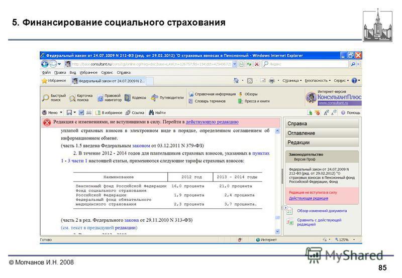85 Молчанов И.Н. 2008 5. Финансирование социального страхования
