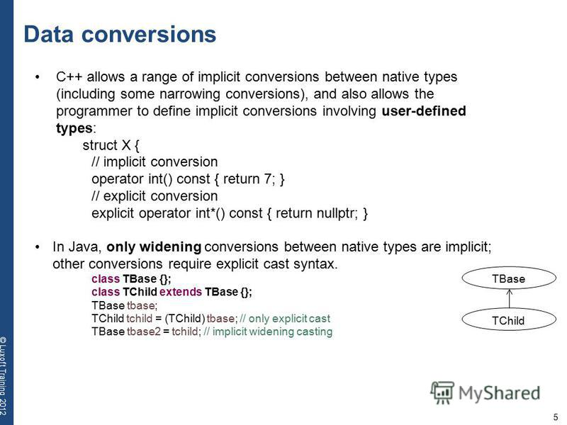 5 © Luxoft Training 2012 Data conversions C++ allows a range of implicit conversions between native types (including some narrowing conversions), and also allows the programmer to define implicit conversions involving user-defined types: struct X { /