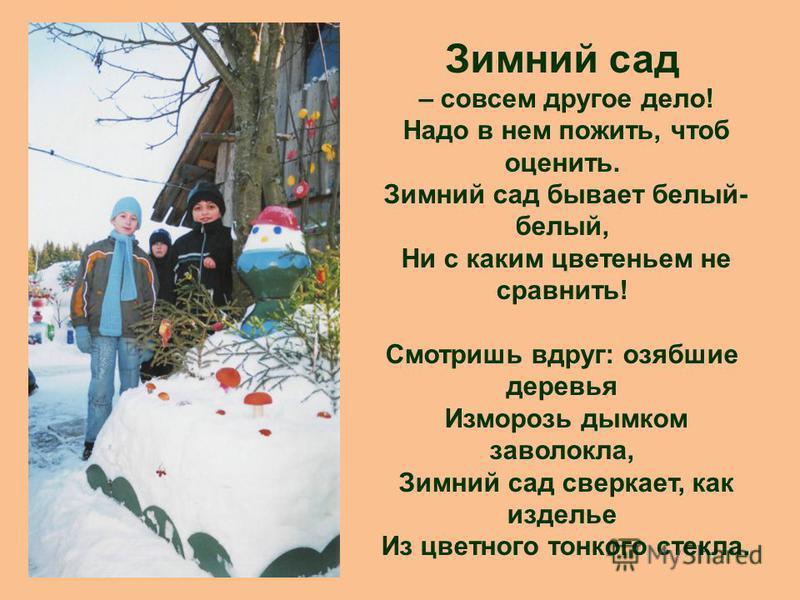 Зимний сад – совсем другое дело! Надо в нем пожить, чтоб оценить. Зимний сад бывает белый- белый, Ни с каким цветеньем не сравнить! Смотришь вдруг: озябшие деревья Изморозь дымком заволокла, Зимний сад сверкает, как изделье Из цветного тонкого стекла